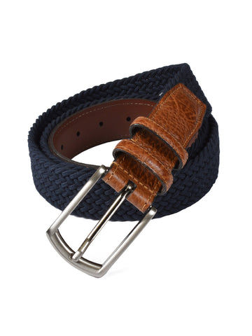 Torino Cotton Elastic Men's Belts in Navy - Big Ma