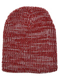Marled Rib Knit Beanie in Red