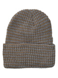 Striped Knit Cuff Cap in Tan