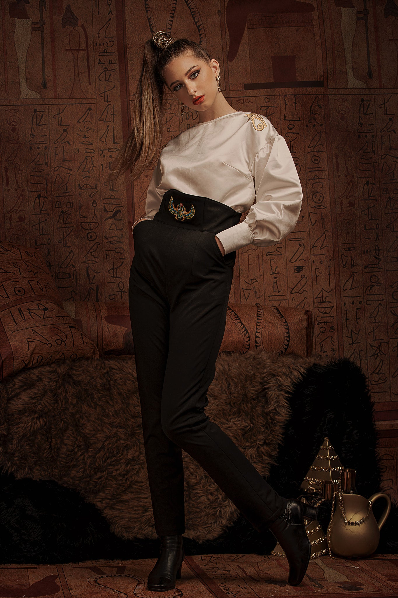 SCARAB TAILORED HIGH-RISE PANTS