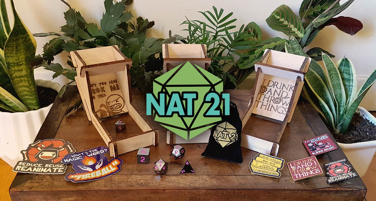 Nat 21 Workshop dice towers, D&D shirts, pins, stickers and more