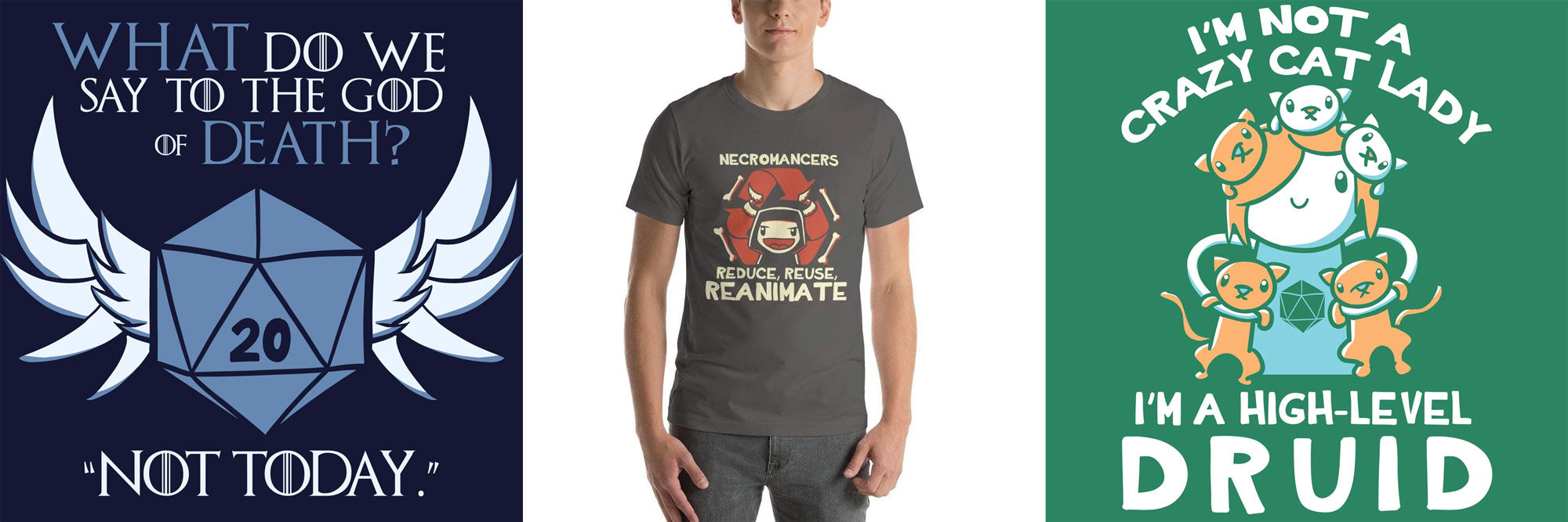 Funny D&D tees from Nat 21 Workshop