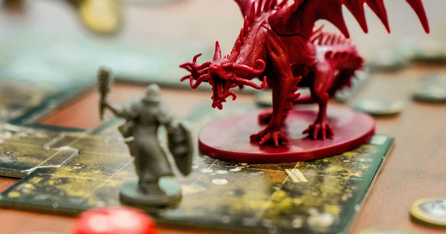 Tabletop RPG miniatures in a combat encounter. Photo by Clint Bustrillos.