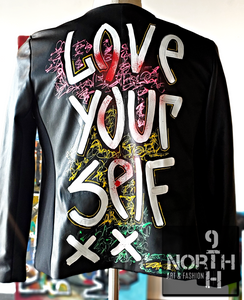 Love Your Self women's leather jacket by 9thandnorth - Dakoro Art
