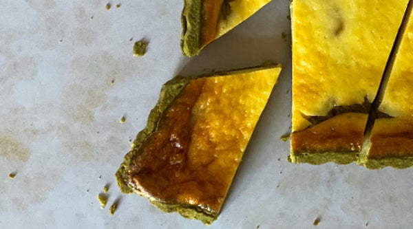 MATCHA RHUBARB SOUR CREAM TART [RECIPE]