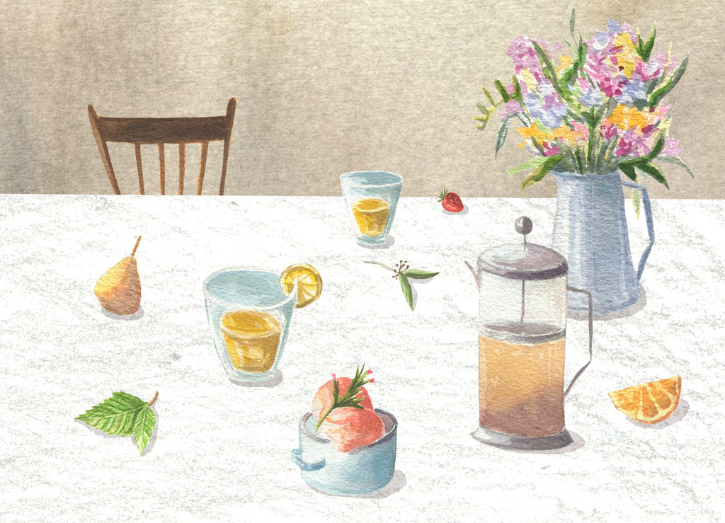 Watercolor painting of cold tea brewing by Anna Fedorovich for P & T