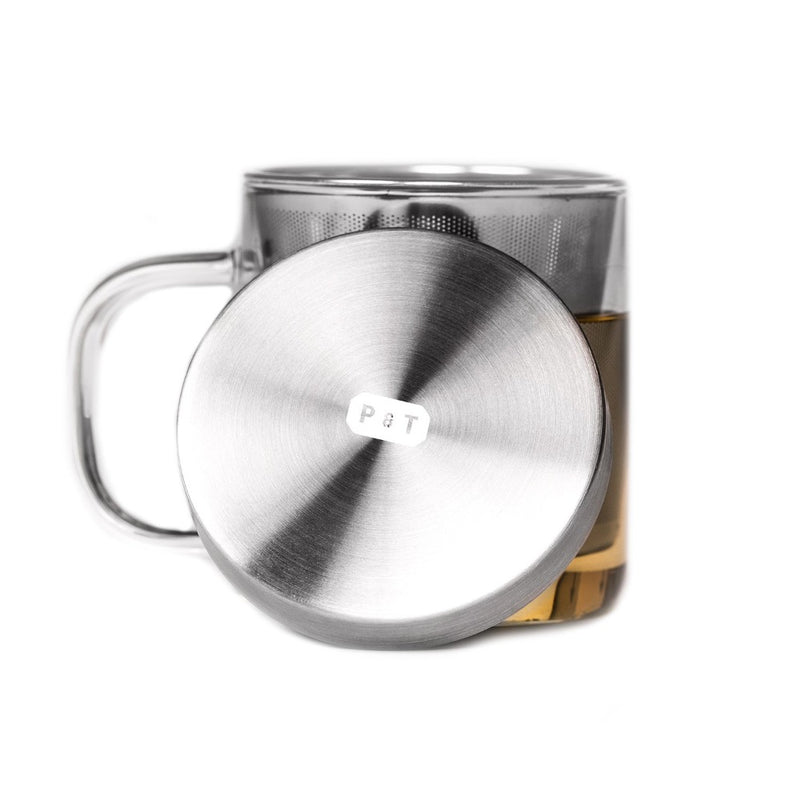 P & T Brewing Mug  A borosilicate glass cup with a removeable strainer and lid: Holds 350 ml. Cup Paper & Tea