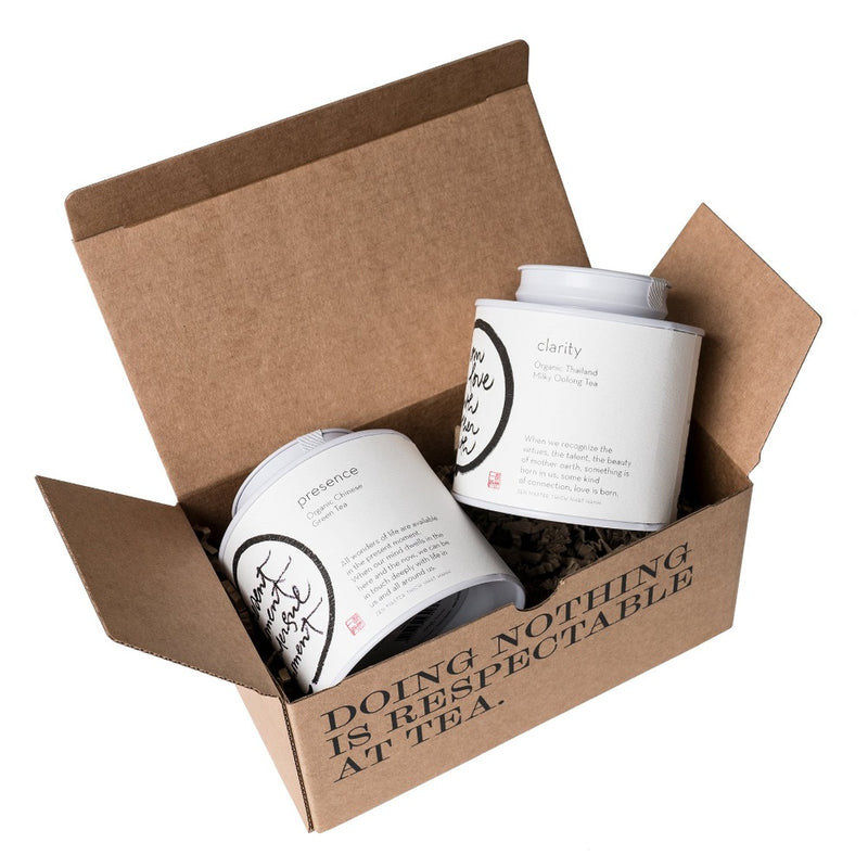The Mindfulness Tea Collection: Clarity & Presence  Two origin teas in a P & T gift box in support of the Thich Nhat Hanh Foundation. Gift Paper & Tea