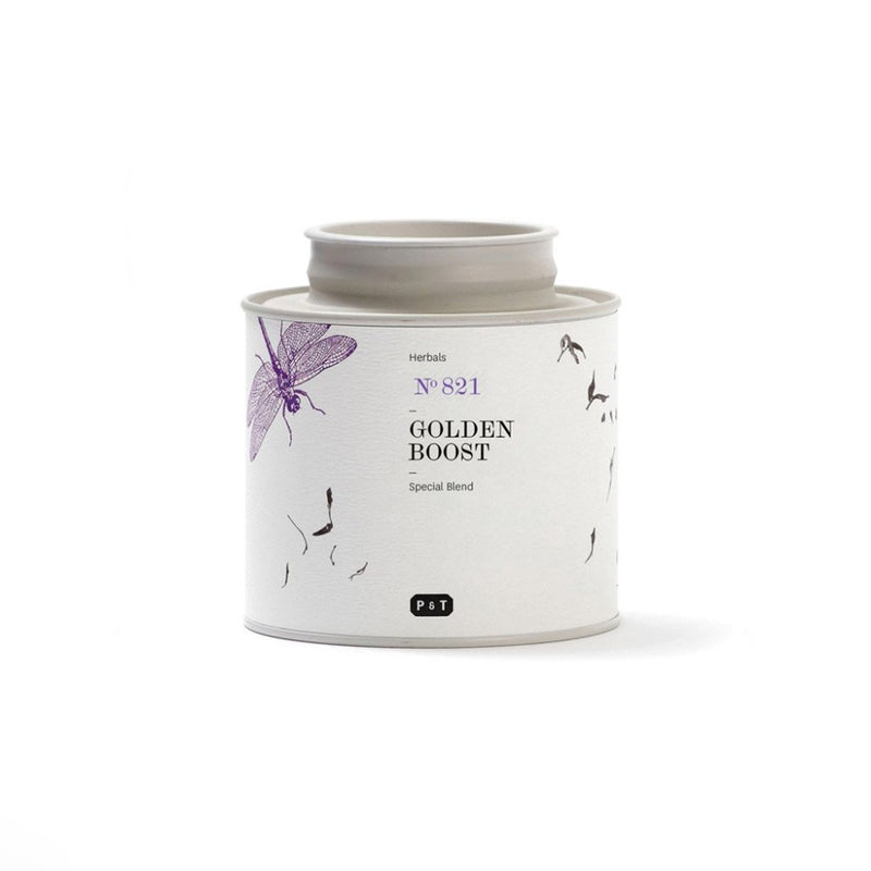 Golden Boost N°821 spicy, tangerine, incense A spice blend with turmeric and ginger.  Herbal Blend Paper & Tea