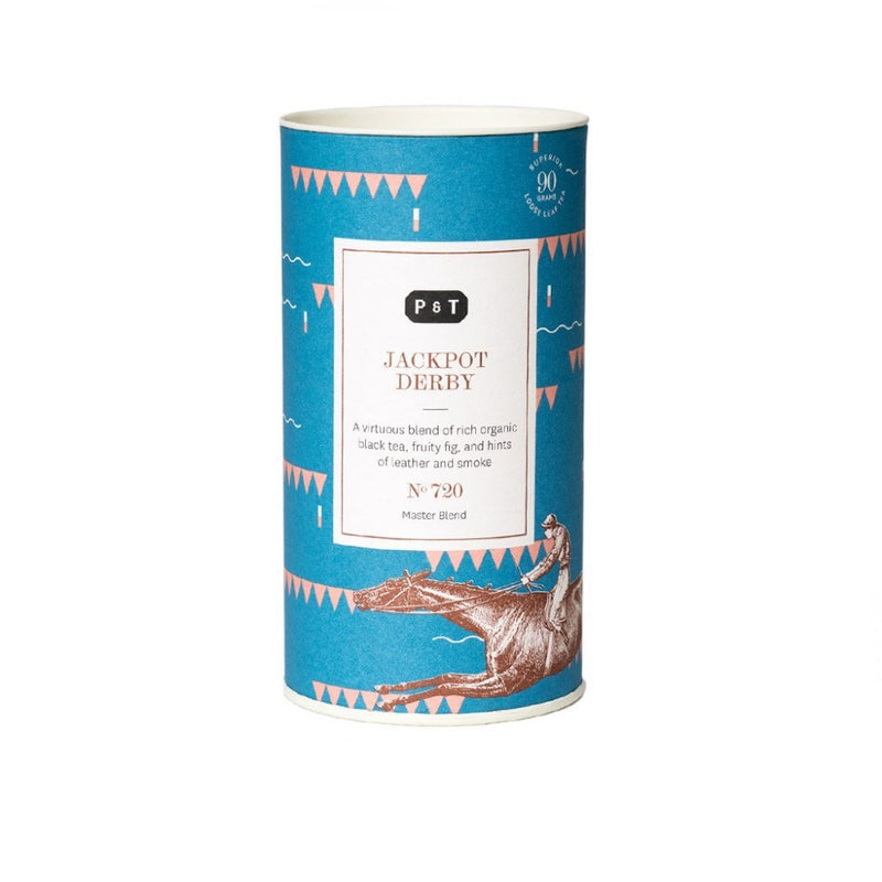 Jackpot Derby N°720 fig, honey, leather A virtuous blend of rich organic black tea, fruity fig, and hints of leather and smoke Black Tea, Master Blend Paper & Tea