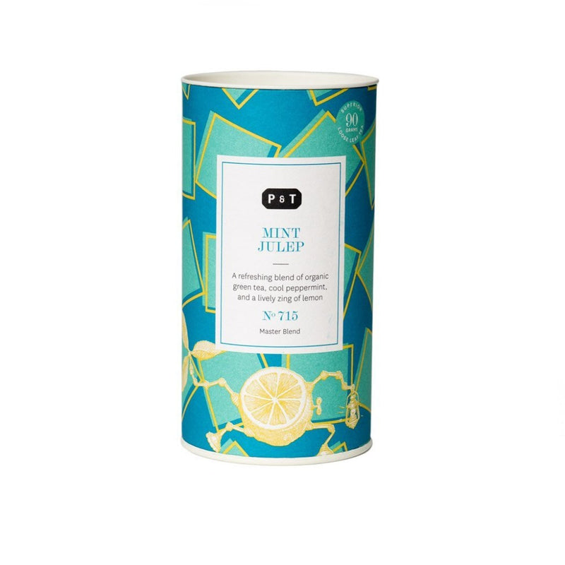 Mint Julep N°715 mint, lemon, toasty green A refreshing blend of organic green tea, cool peppermint, and a lively zing of lemon Green Tea, Master Blend Paper & Tea