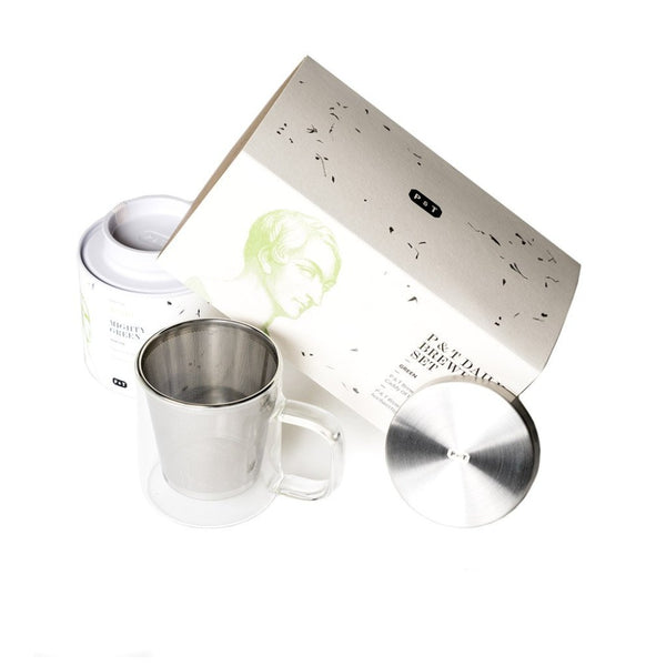 P & T Daily Brewing Set Green  A set of classic Japanese green tea and mug with strainer for daily enjoyment.  Paper & Tea