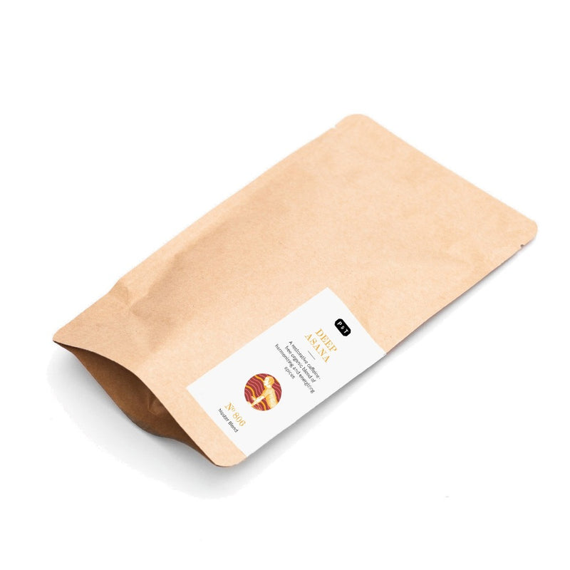 Deep Asana N°806 cinnamon, ginger, clove An Ayurvedic caffeine-free spice tea made of energizing and harmonizing organic spices Herbal, Master Blend Paper & Tea