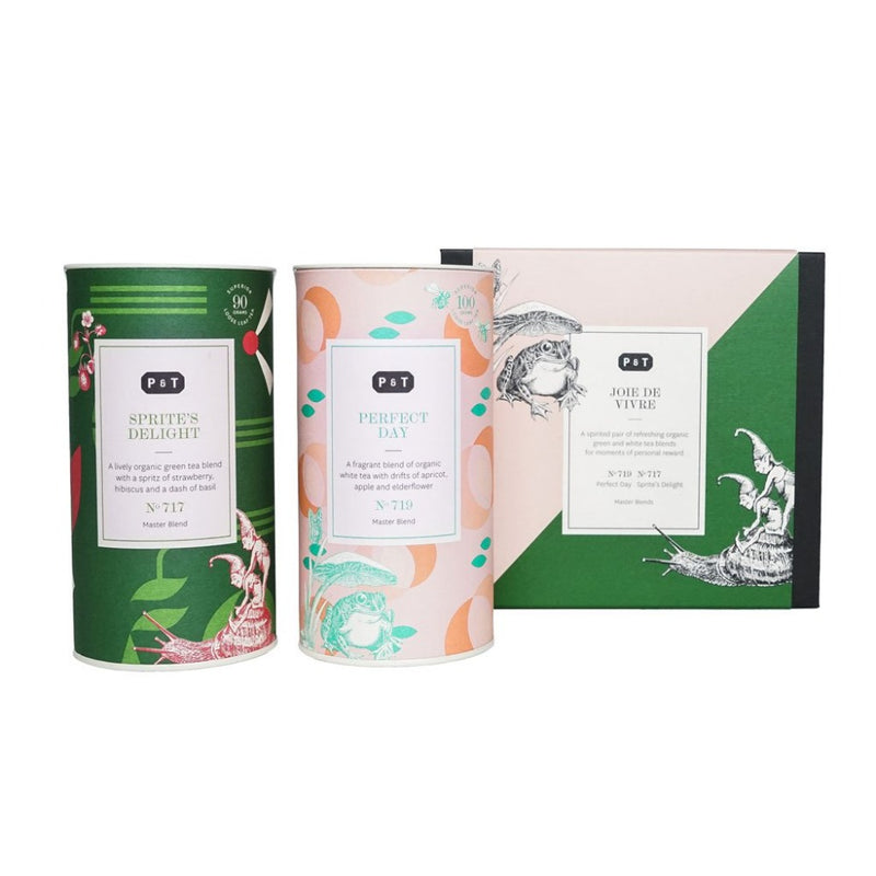 Master Blend Duo Set 'Joie de Vivre'  A set of two best-selling white and green tea blends from P & T's Master Blends collection.  Paper & Tea