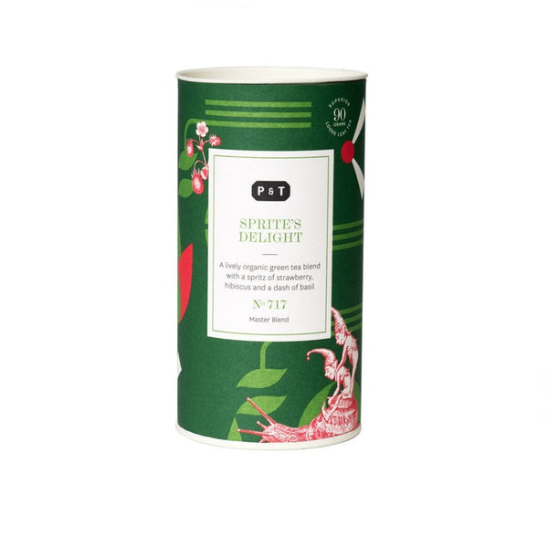 """Sprite's Delight N°717 bright green, strawberry, basil  A lively organic green tea blend with a spritz of strawberry, hibiscus and a dash of basil Green Tea, Master Blend Paper & Tea"""