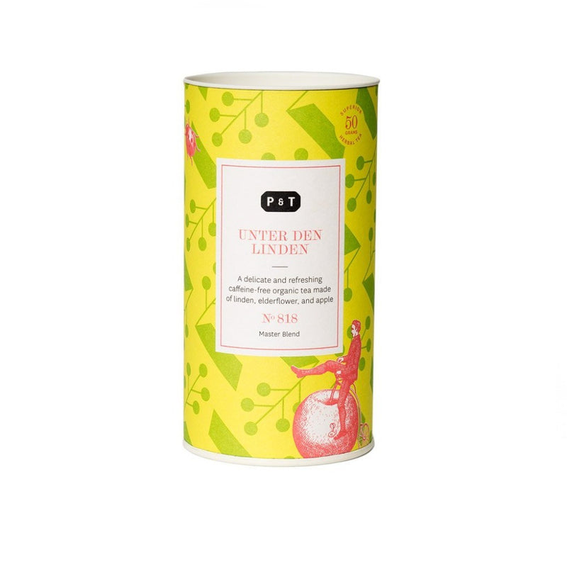 Unter den Linden N°818 sunflower, apple, citrus, elderflower A delicate and refreshing caffeine-free organic tea made of linden, elderflower, and apple Herbal, Master Blend Paper & Tea