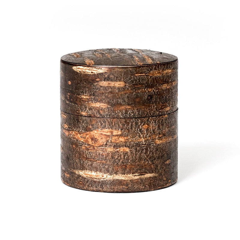 Cherry Tree Jar  A hand-made traditional Japanese tea jar made from cherry tree bark.  Tea Caddy Paper & Tea