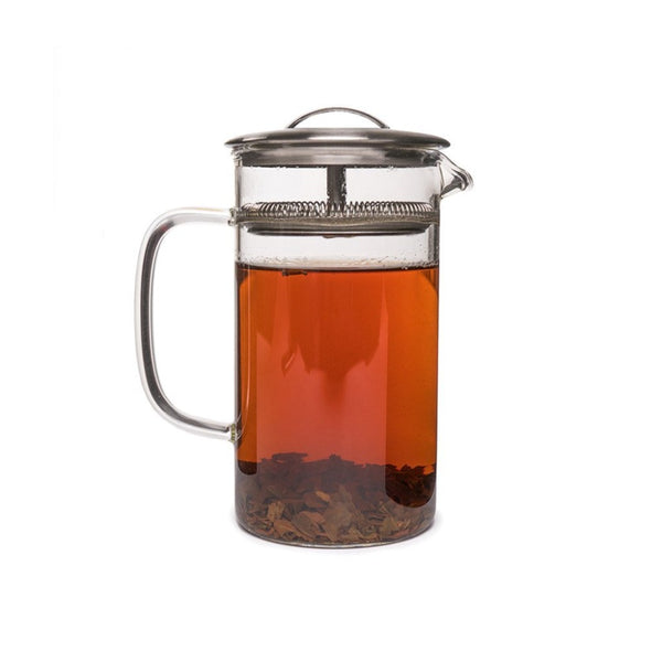 Cylinder Pot medium  A glass teapot for hot and cold brew with integrated strainer: Holds 600 ml. Teapot Paper & Tea