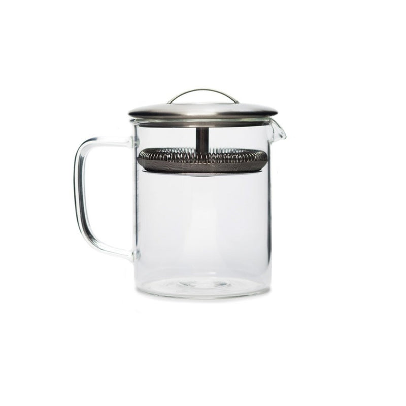Cylinder Pot small  A glass teapot for hot and cold brew with integrated strainer: Holds 400 ml. Teapot Paper & Tea
