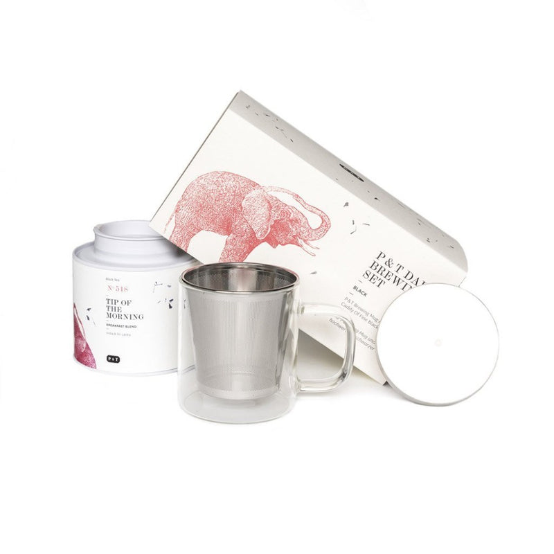 P & T Daily Brewing Set Black  A set of breakfast black tea blend and mug with strainer for daily enjoyment.  Paper & Tea