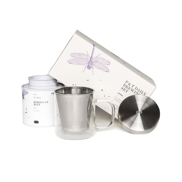 P & T Daily Brewing Set Herbal  A set of mint herbal tea and mug with strainer for daily enjoyment.    Paper & Tea
