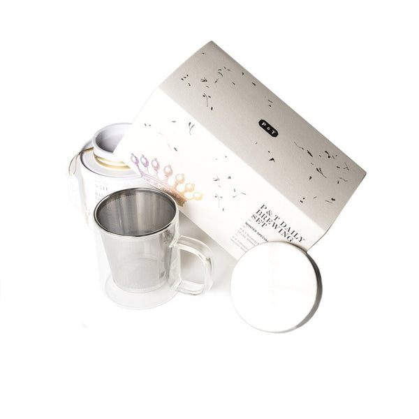 P & T Daily Brewing Set Winter  A set of winter spice black tea blend and mug with strainer for daily enjoyment.   Paper & Tea