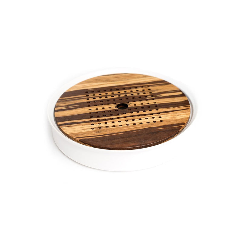 Flow Gong Fu Tray  A modern gong fu tea tray of wood and ceramic. Coaster Paper & Tea
