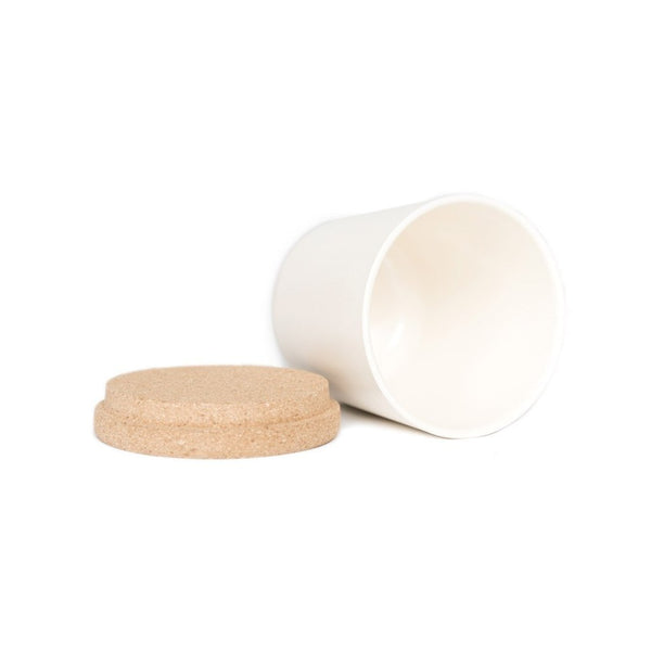 Gusto Tea Storage White  A tea storage jar made from bamboo with a cork lid: Holds 500 ml. Tea Caddy Paper & Tea