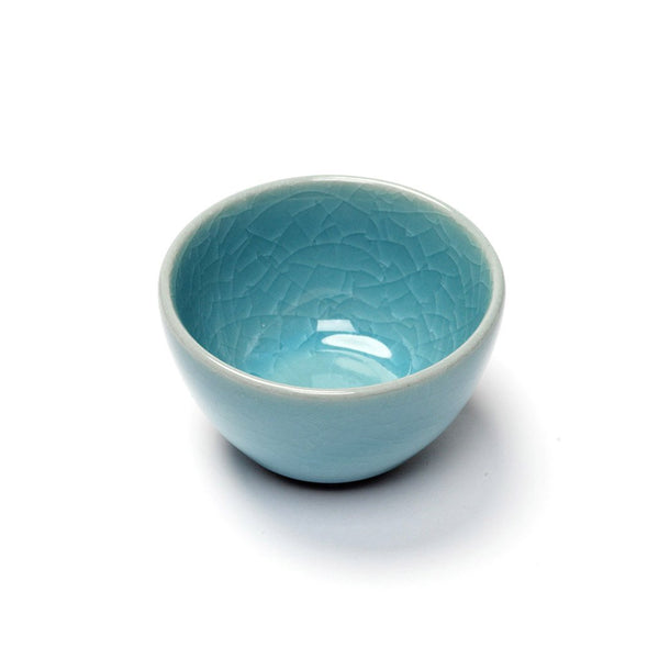 Humpty Dumpty Sipping Cup blue  A glazed sipping cup with crackle glaze: Holds 50 ml.  Cup Paper & Tea