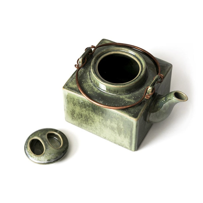 Jade Square Teapot  A kaolin clay pot with a brass handle: Holds 700 ml. Teapot Paper & Tea