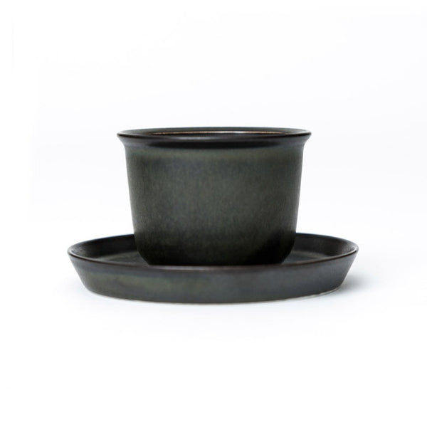 Leaves to Tea Cup dark green  A matching cup and saucer of porcelain: Holds 160 ml. Cup Paper & Tea