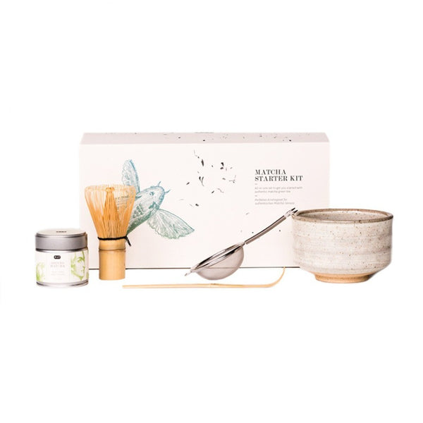 Matcha Starter Kit  An all-inclusive set of matcha powder, bowl, whisk, strainer, measuring spoon to prepare matcha.   Paper & Tea