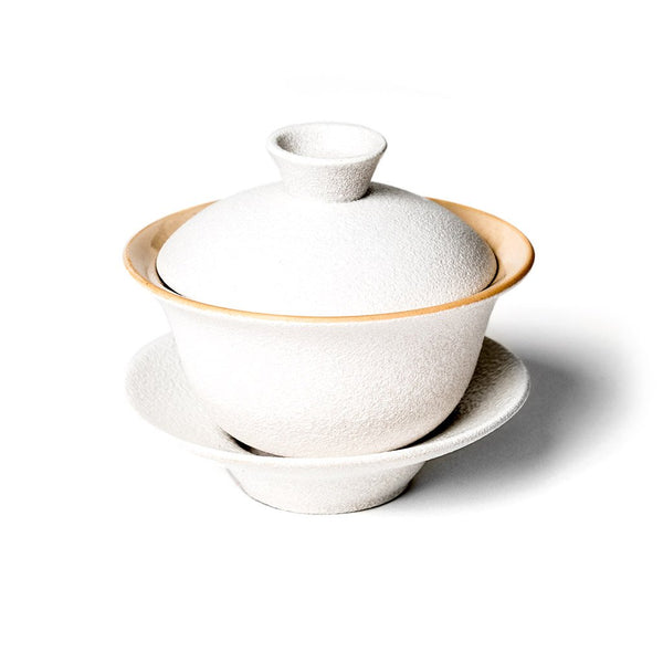 Sancai Gaiwan  A traditional stoneware pot with cup, lid,and saucer: Holds 100 ml.  Teapot Paper & Tea