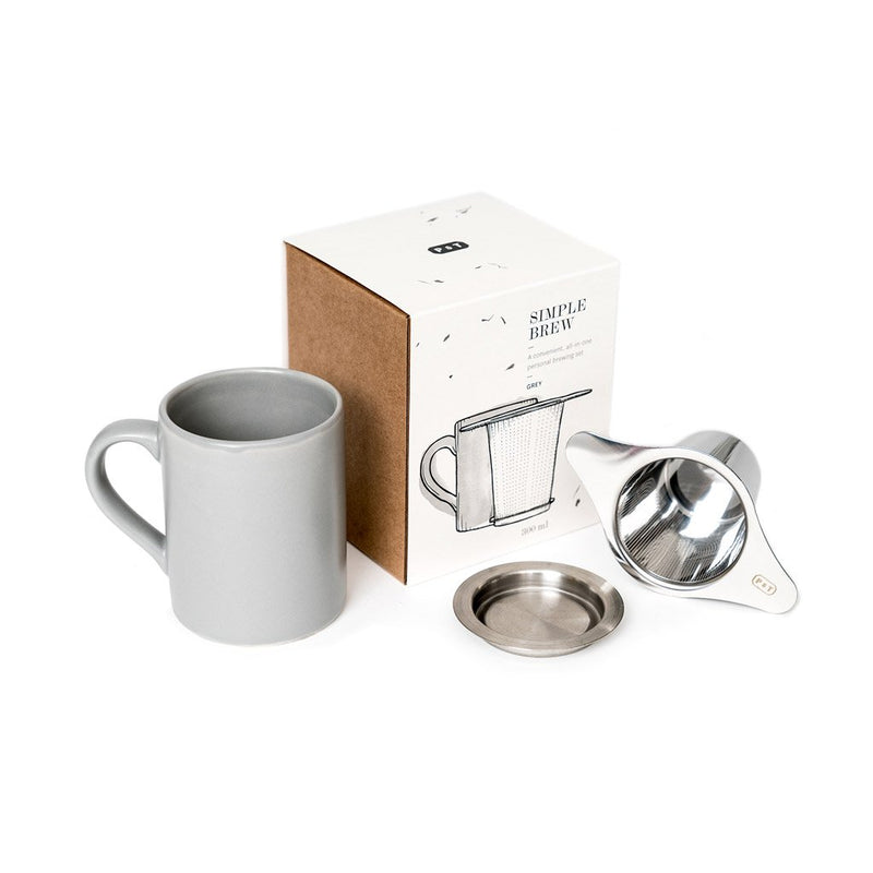 Simple Brew Set Grey  A set of P & T branded mug and tea infuser with lid.  Paper & Tea