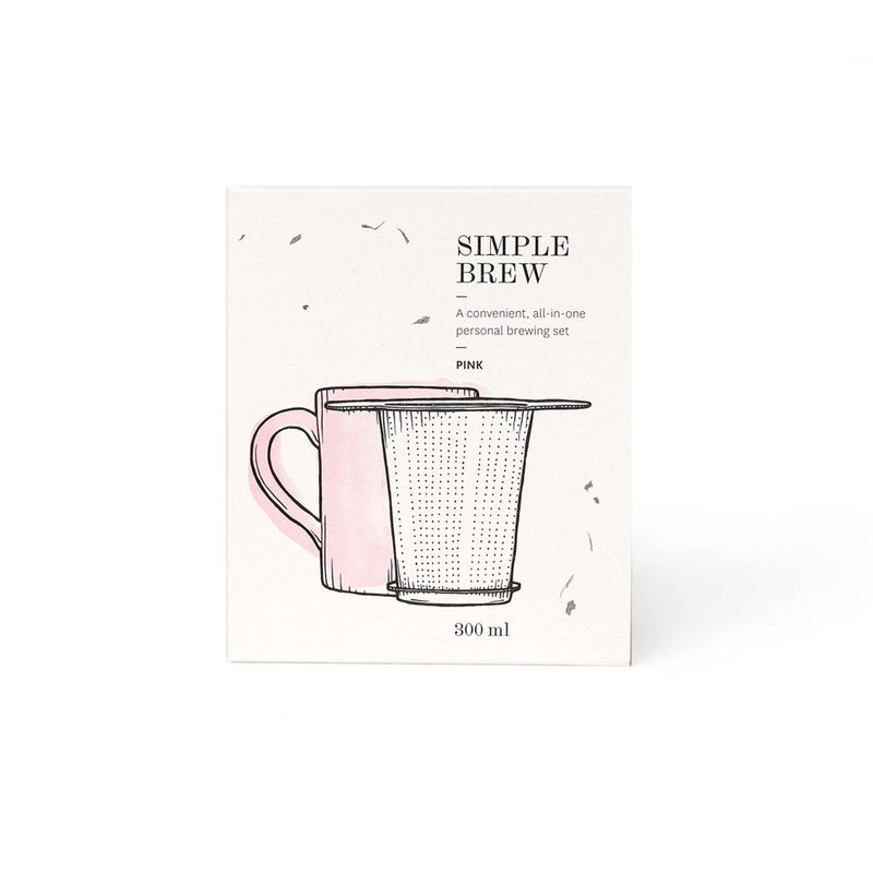 Simple Brew Set Pink  A set of P & T branded mug and tea infuser with lid.  Paper & Tea