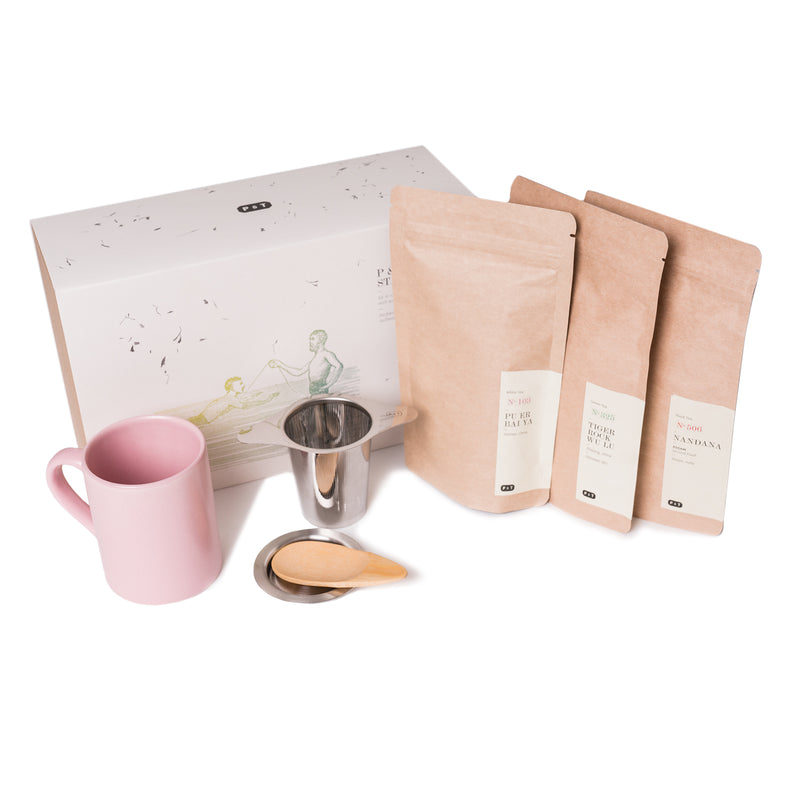 P & T Starter Set Pink  A set of three best-selling teas, measuring spoon, and mug with strainer to get started with tea.  Paper & Tea