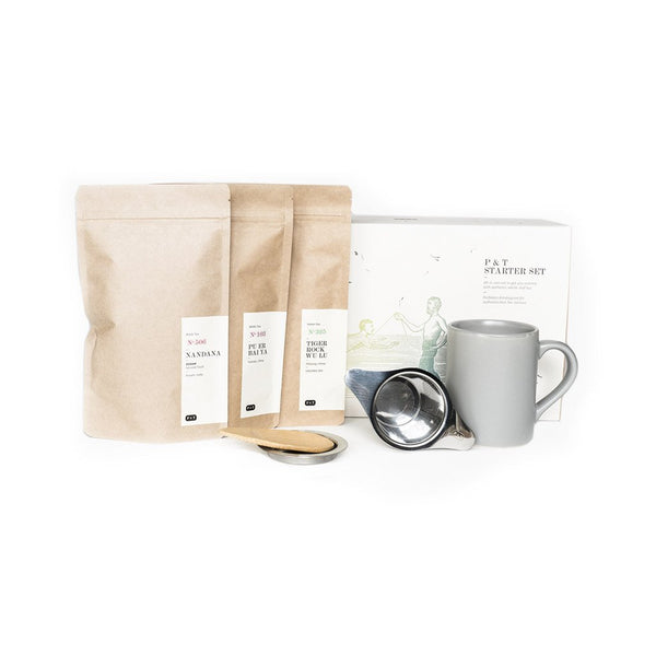 P & T Starter Set Grey  A set of three best-selling teas, measuring spoon, and mug with strainer to get started with tea.  Paper & Tea