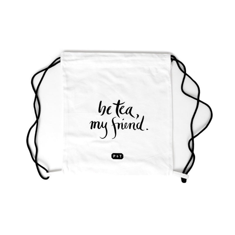 Tea Karma Bag  A P & T branded drawstring backpack with a karma quote print. P & T Merchandise Paper & Tea