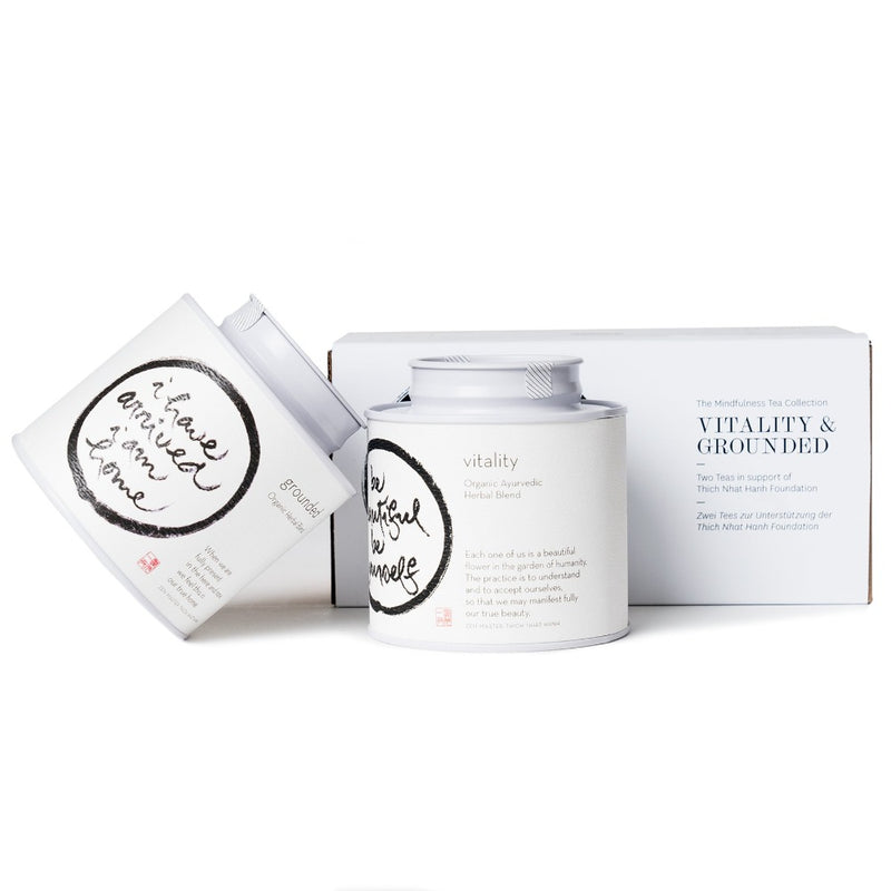 The Mindfulness Tea Collection: Grounded & Vitality  Two origin teas in a P & T gift box in support of the Thich Nhat Hanh Foundation. Gift Paper & Tea