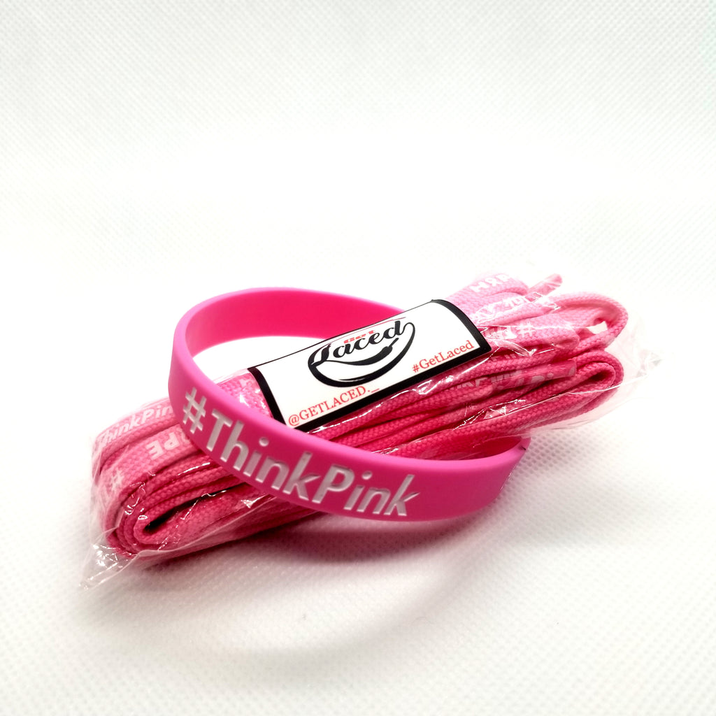 #ThinkPink & Hope Laces/Wristband Set - Get Laced Shoelaces