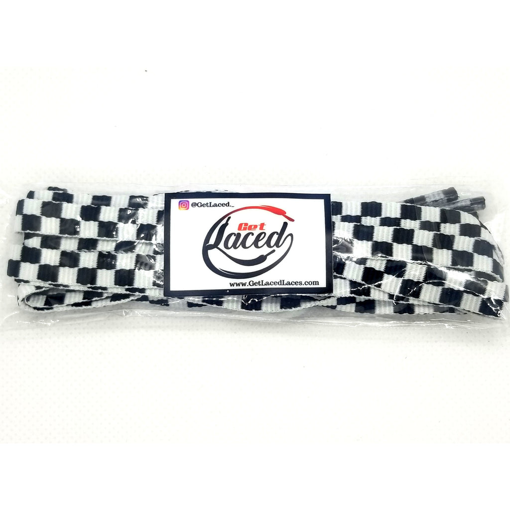 Crafty Checkerboard Laces - Black - Get Laced Shoelaces