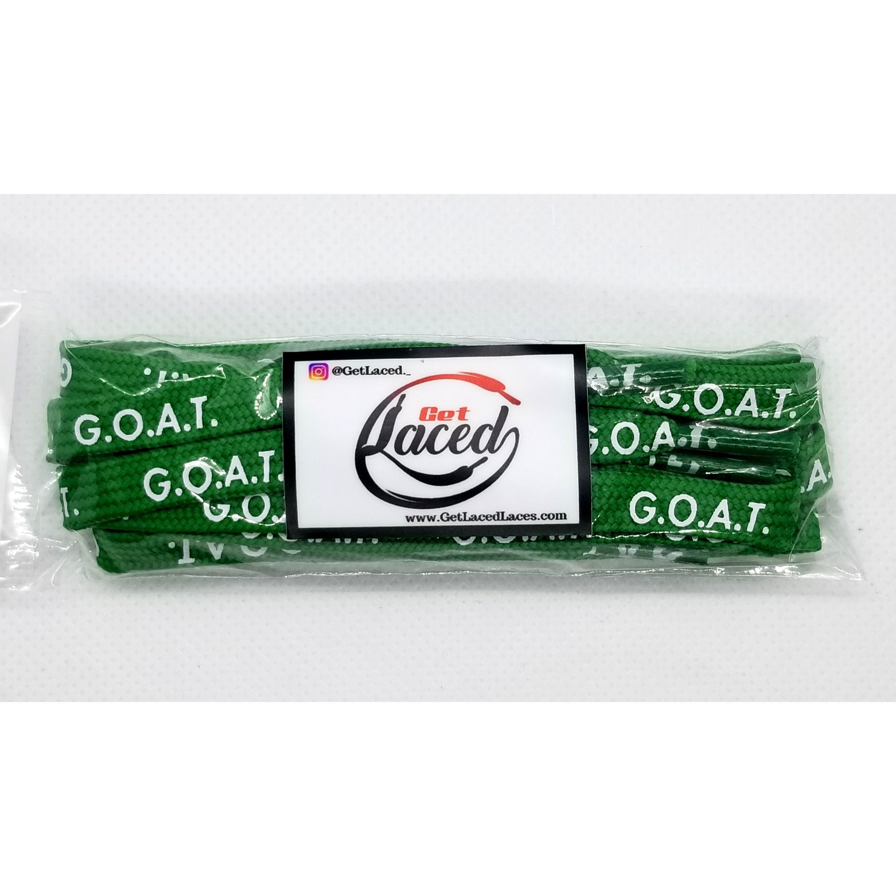 Legendary G.O.A.T. Laces - Green/White - Get Laced Shoelaces