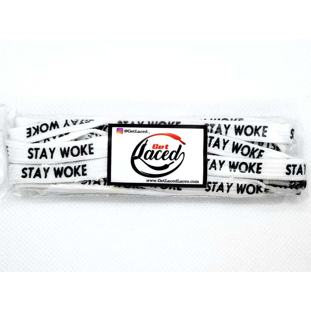 Stay Woke! Laces - White - Get Laced Shoelaces