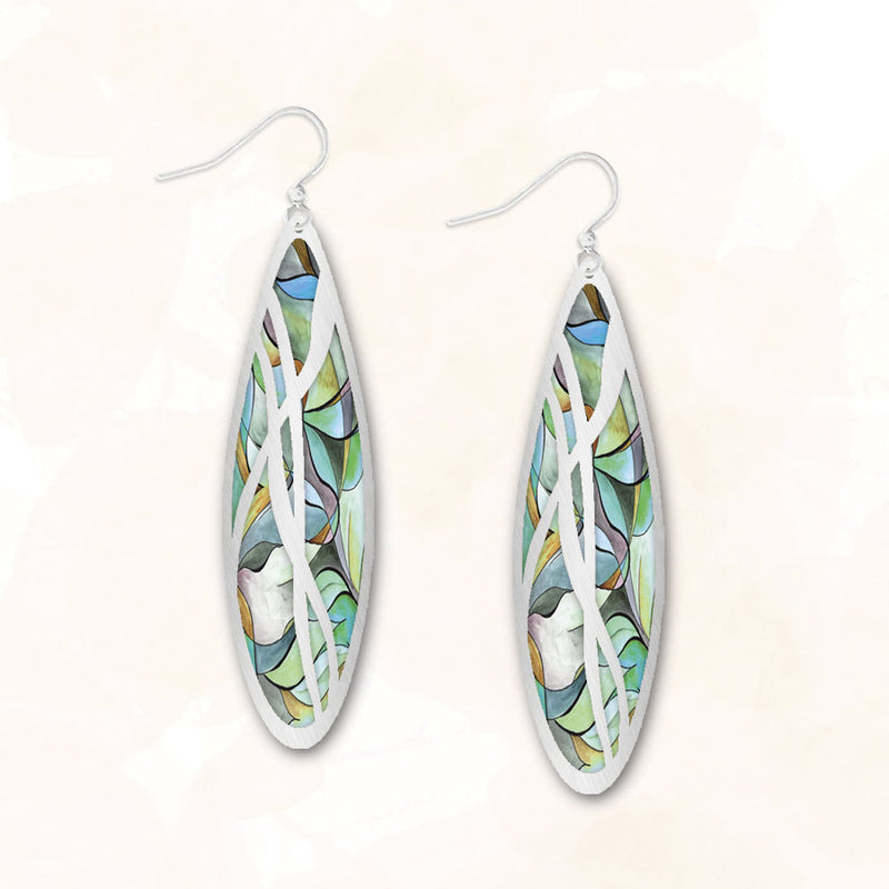 Oval Droplet 6CGS | Hook | Stained Glass Silver