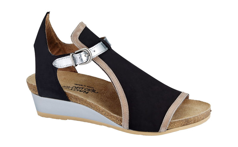 Fiona | Black Velvet Nubuck/Khaki Nubuck/Silver Mirror Leather