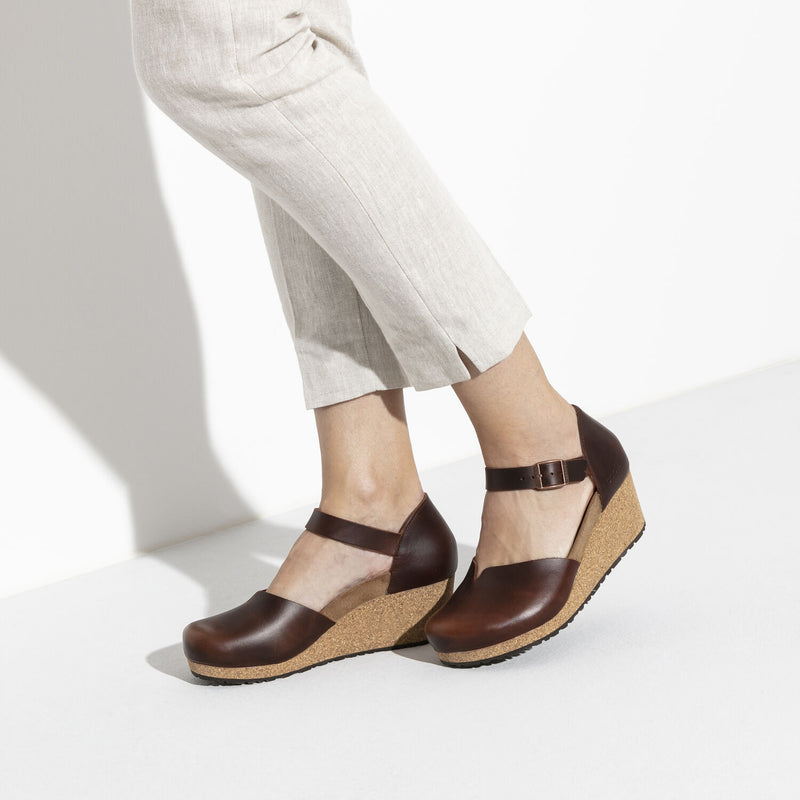 Mary | Wedge | Leather | Cognac