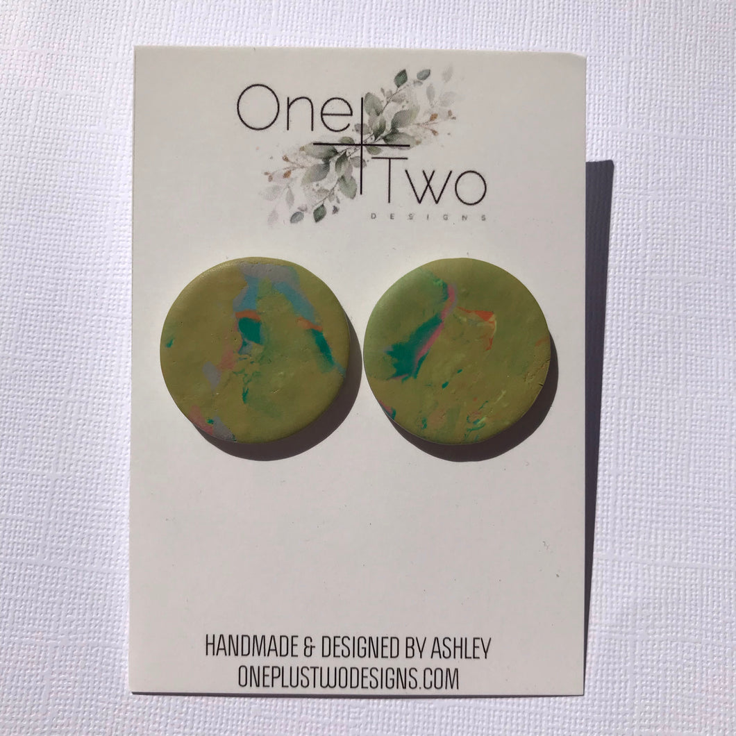 Olive Marble Maxi Studs