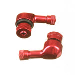 WHITES 90 DEGREE ALLOY VALVES 8.3MM (EURO/YAM) - RED (PAIR)