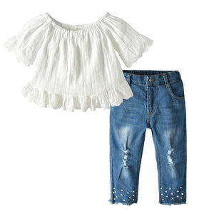 Girls Linen Top Pearl Jeans Set