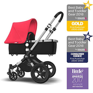 Bugaboo Cameleon 3 Plus, 2 In 1 Pram and Pushchair with Reversible Handlebar, Black/Neon Red